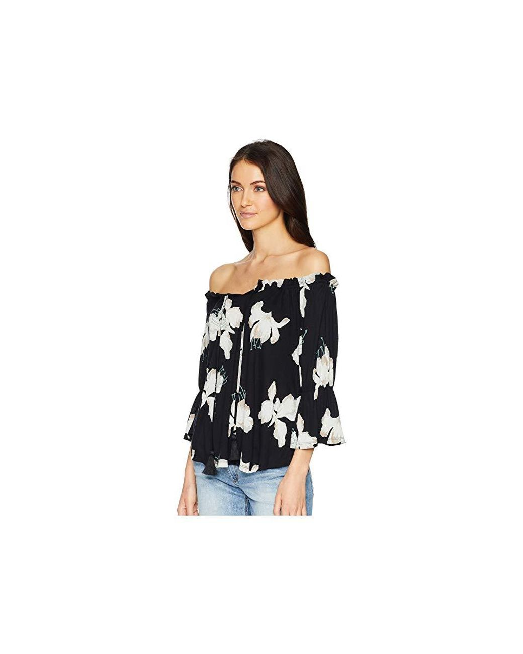 194a80891cb Lucky Brand Floral Print Off Shoulder Top (black Multi) Clothing in Black -  Save 25% - Lyst