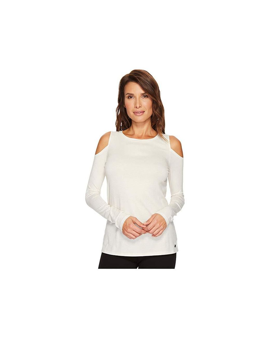 20865f2c05abeb Ivanka Trump Knit Cold Shoulder Long Sleeve Metallic Shirt (ivory) Clothing  in White - Save 43% - Lyst