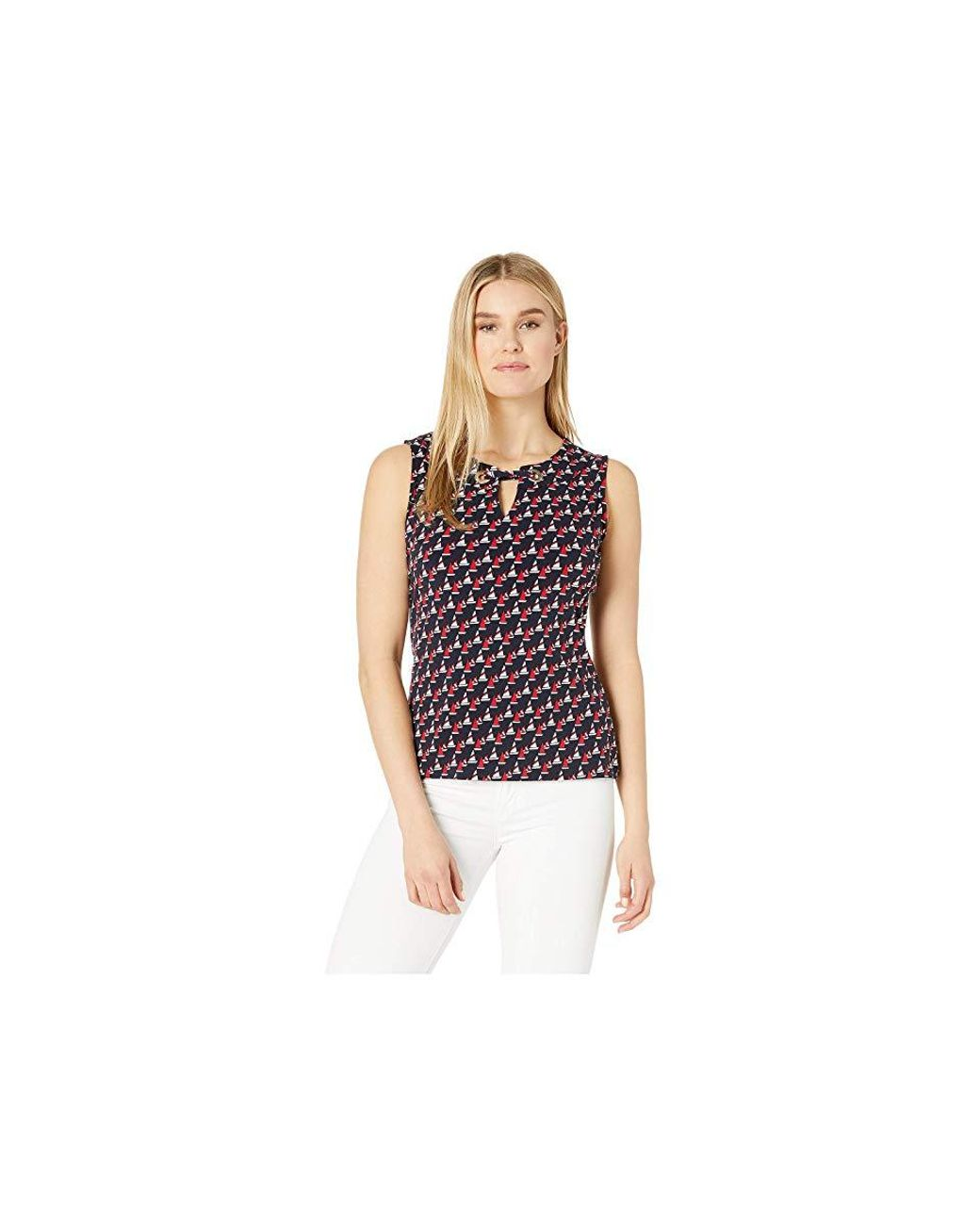 3fc1d435cdea Tommy Hilfiger Anchor Print Gromet Neck Knit Top (midnight Multi) Blouse -  Save 21% - Lyst