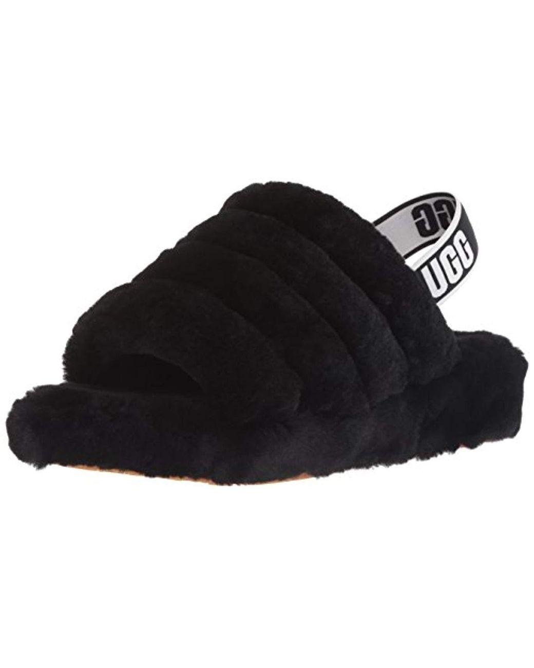 f7e2b4614 UGG Women's Fluff Yeah Logo Slide in Black - Save 38% - Lyst