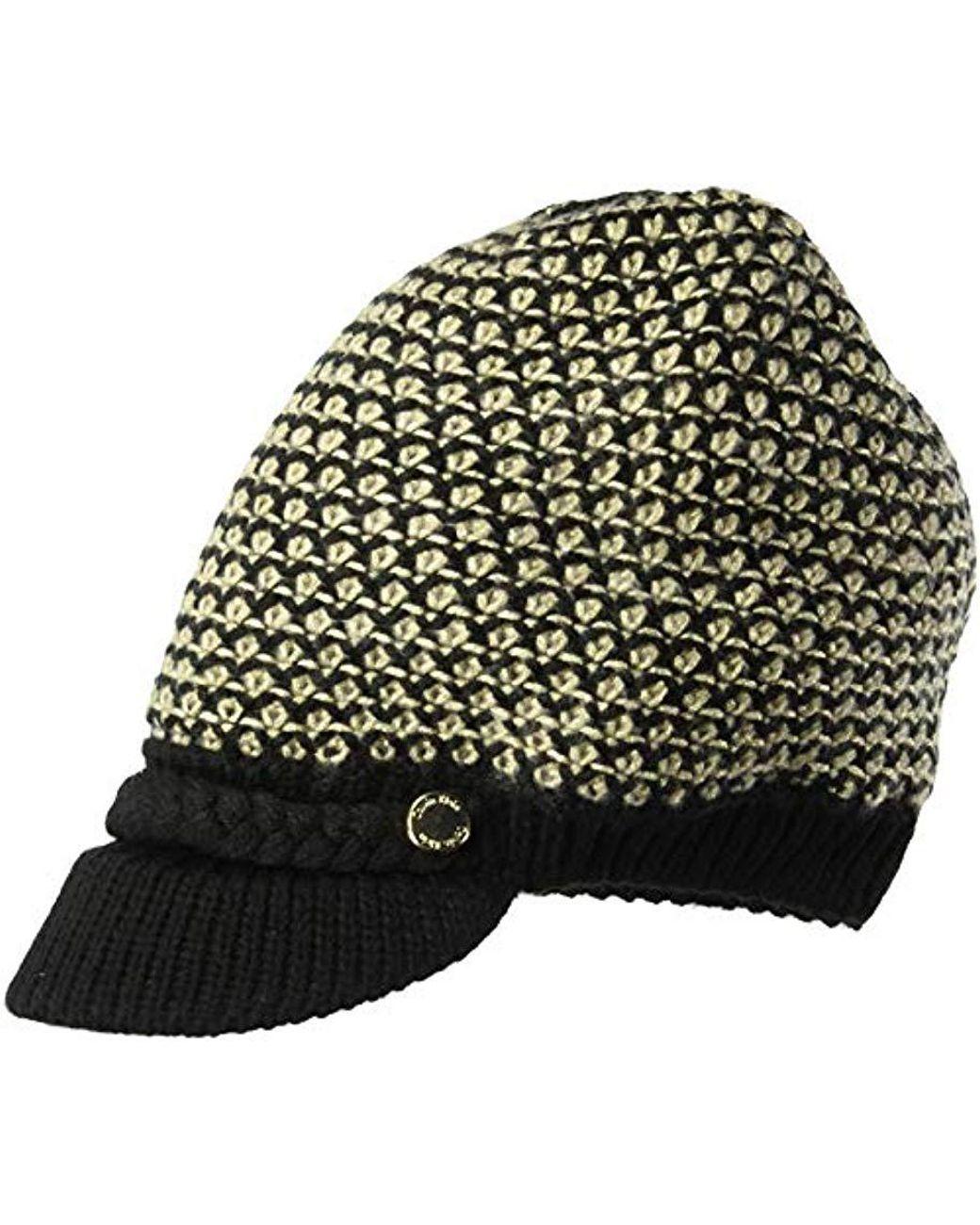 bfdaf5a0 Calvin Klein Textured Lurex Cabbie Hat (black) Caps in Black - Save 47% -  Lyst