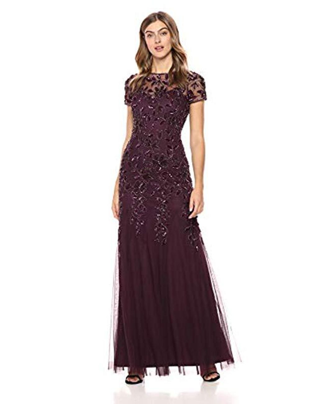 11b6e64d16c Adrianna Papell Short Sleeve Beaded Floral Dress in Purple - Lyst