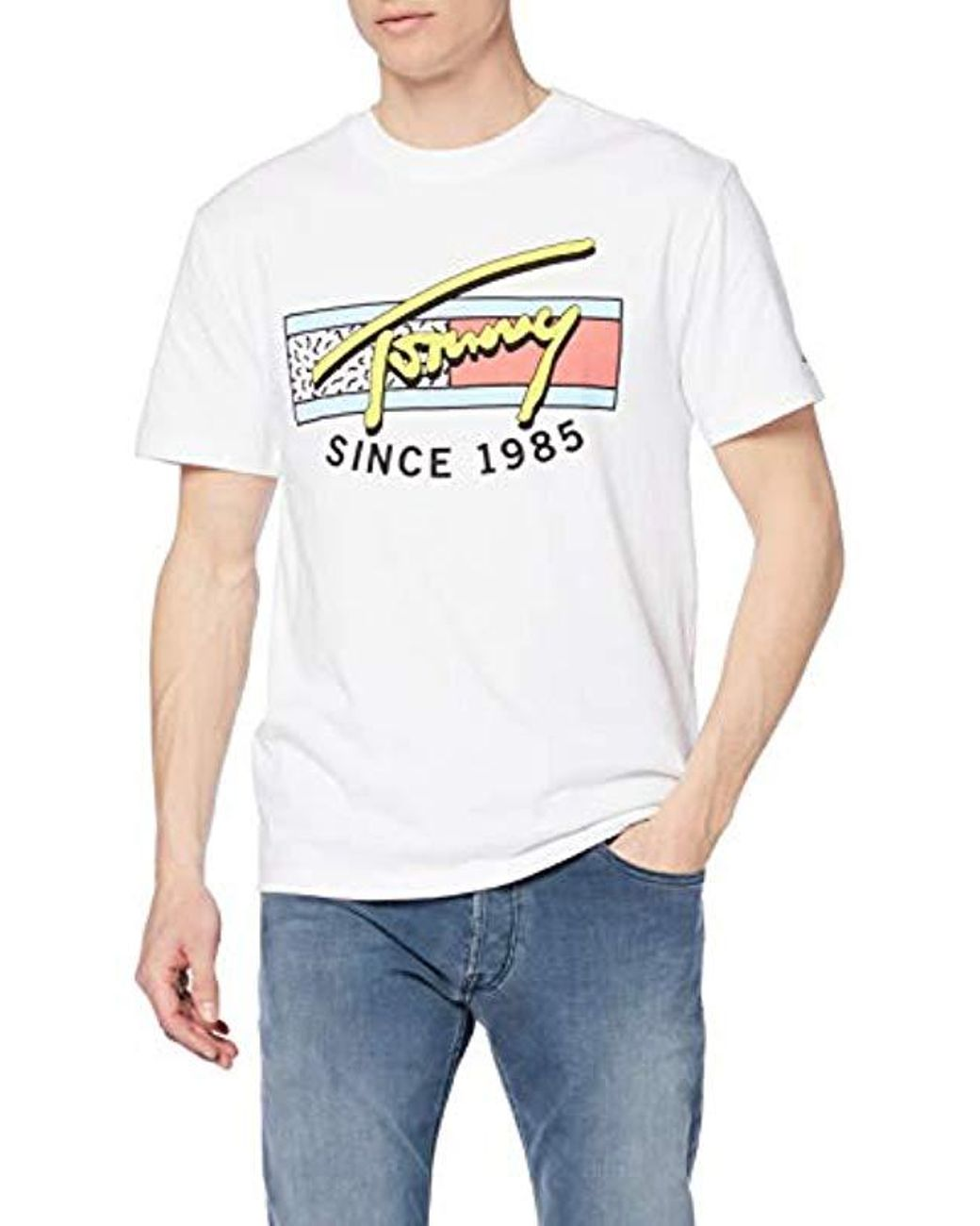 f0cd4119 Tommy Hilfiger Neon Script Graphic Tee in White for Men - Lyst