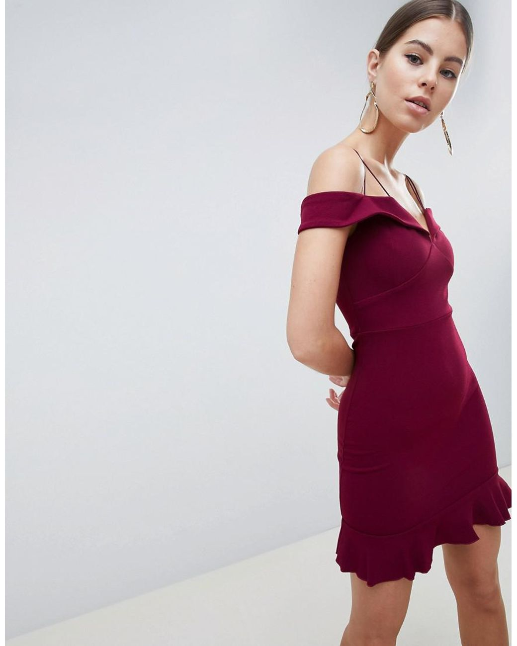d10cbfd442 AX Paris Off Shoulder Fitted Dress With Frill Hem in Purple - Lyst
