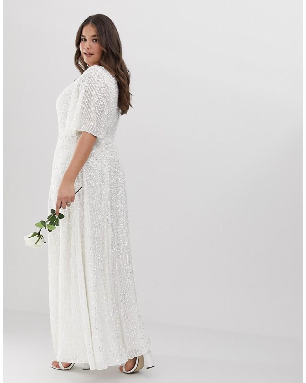 60a4e84eb53 ASOS Asos Edition Curve Flutter Sleeve Sequin Maxi Wedding Dress in White -  Lyst