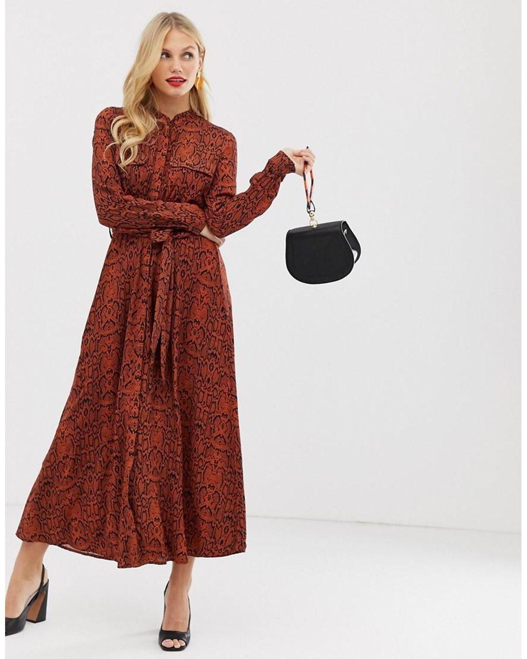 207dd7a585ce Y.A.S Snake Print Maxi Shirt Dress in Brown - Lyst