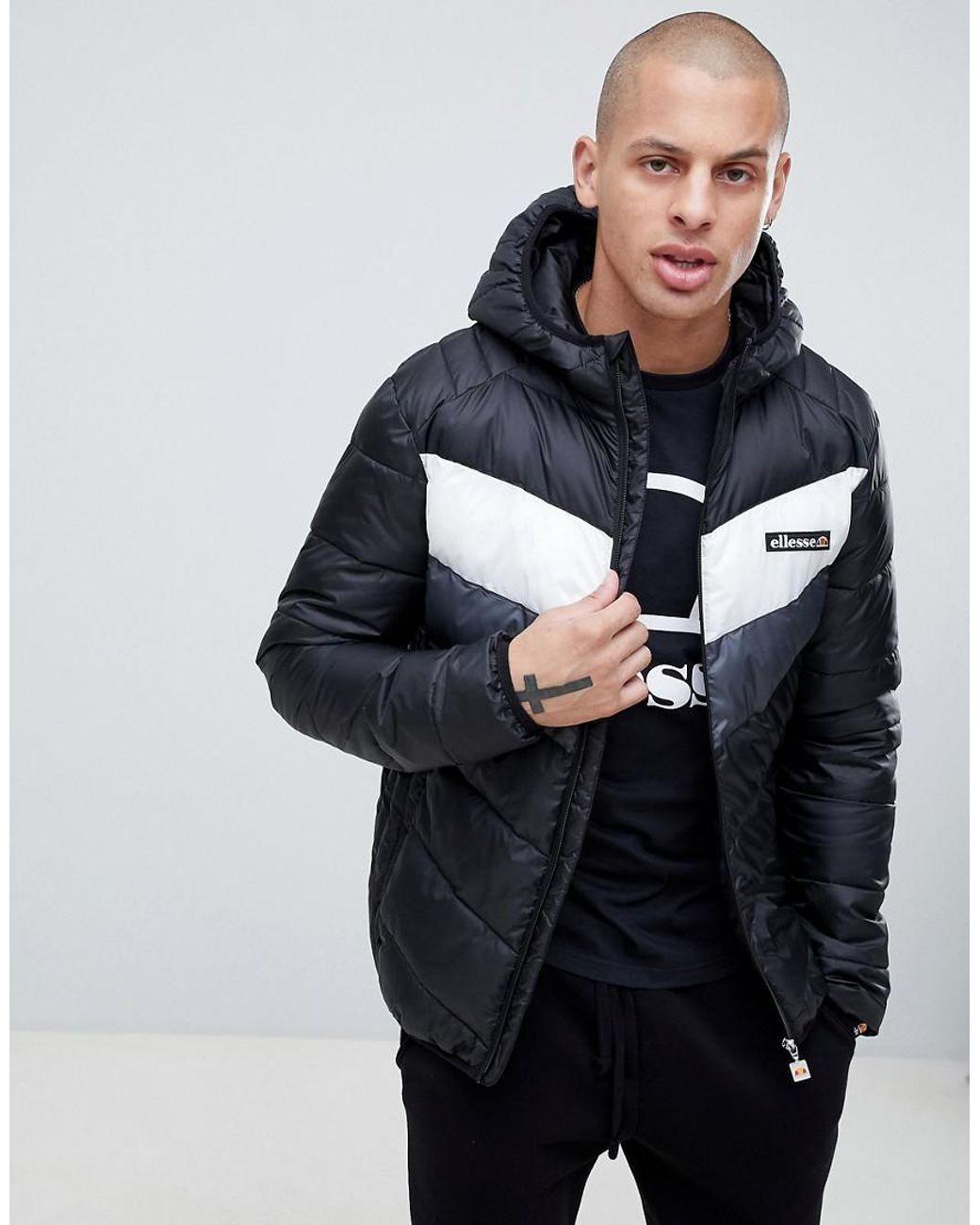 6e7c8cb4 Ellesse Ginap Chevron Puffer Jacket In Black in Black for Men - Lyst