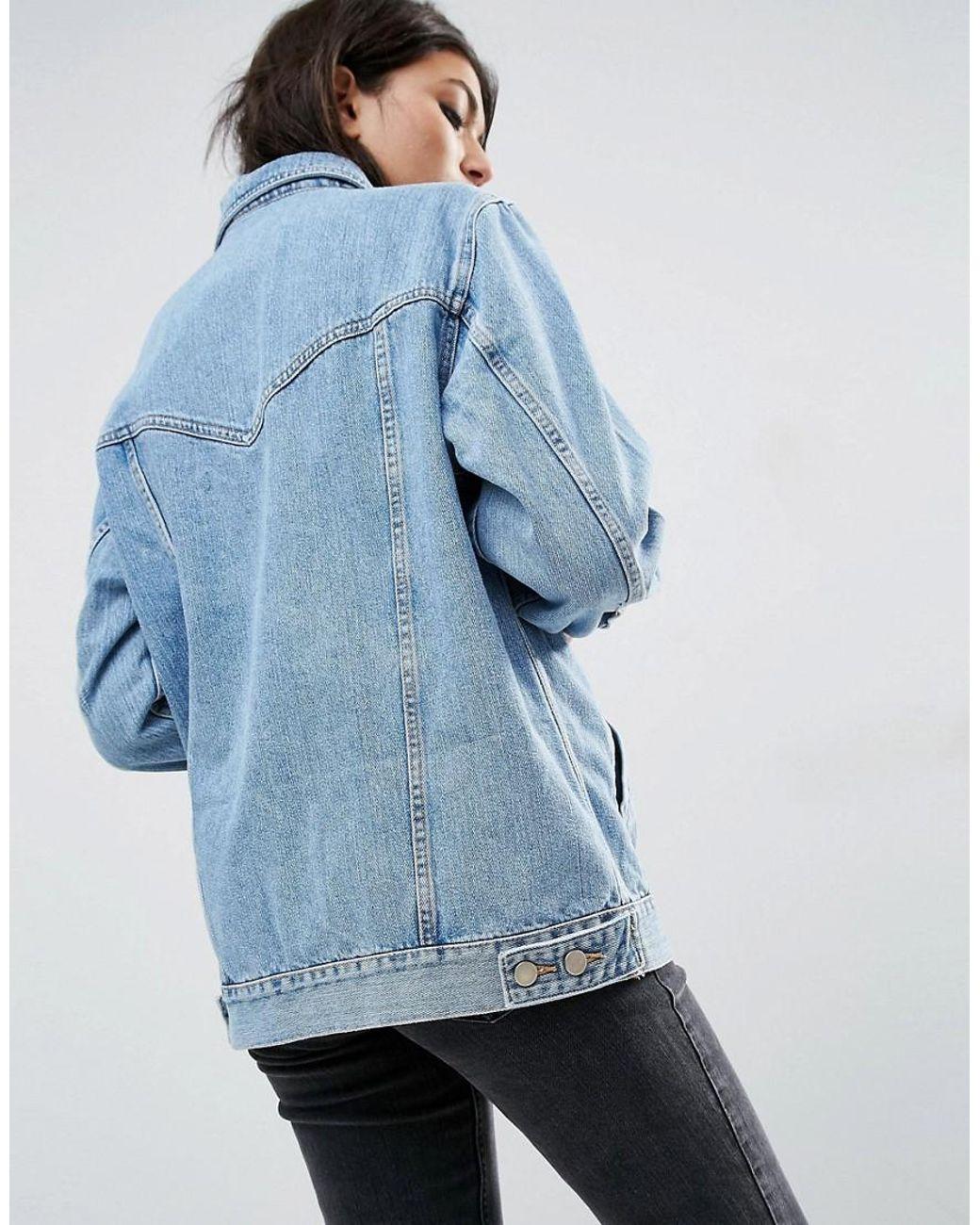 c59f4a806f Veste coupe girlfriend en jean - Bleu délavé ASOS en coloris Bleu - Lyst