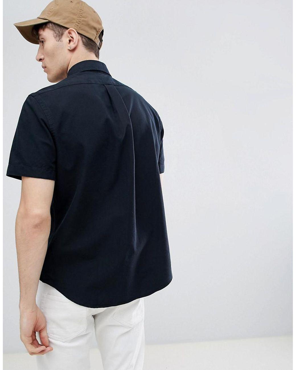 7c5008dd1 Polo Ralph Lauren Player Logo Short Sleeve Oxford Shirt Button-down Custom  Regular Fit In Black in Black for Men - Lyst