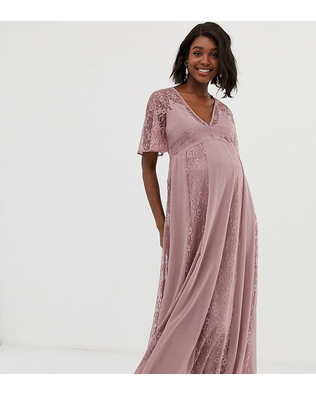 7b4499f45a7 Lyst - ASOS Asos Design Maternity Maxi Dress With Flutter Sleeve And All  Over Lace Insert in Pink