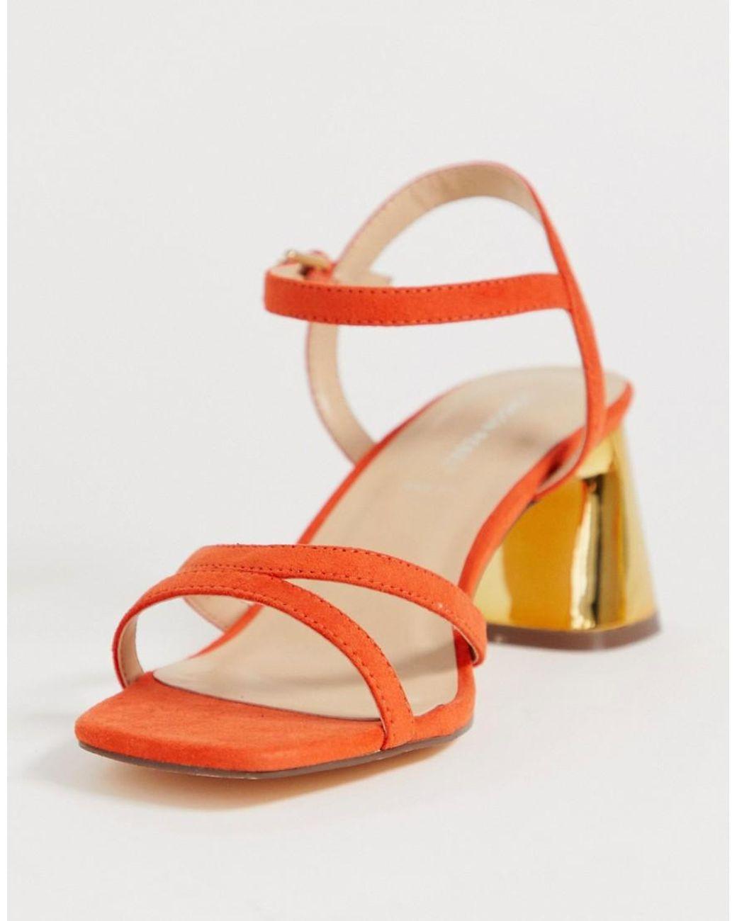 London Rebel Suede Wide Fit Mid Heel Stud Sandals in Orange