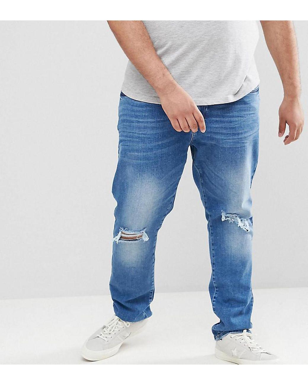 c34d2a6541b Jacamo Skinny Fit Jeans In Rip & Repair In Navy in Blue for Men - Lyst