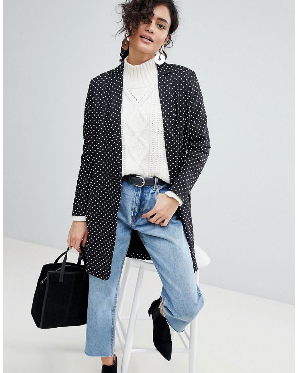 5d08f4e1a Lyst - SELECTED Femme Polka Dot Long Blazer in Black