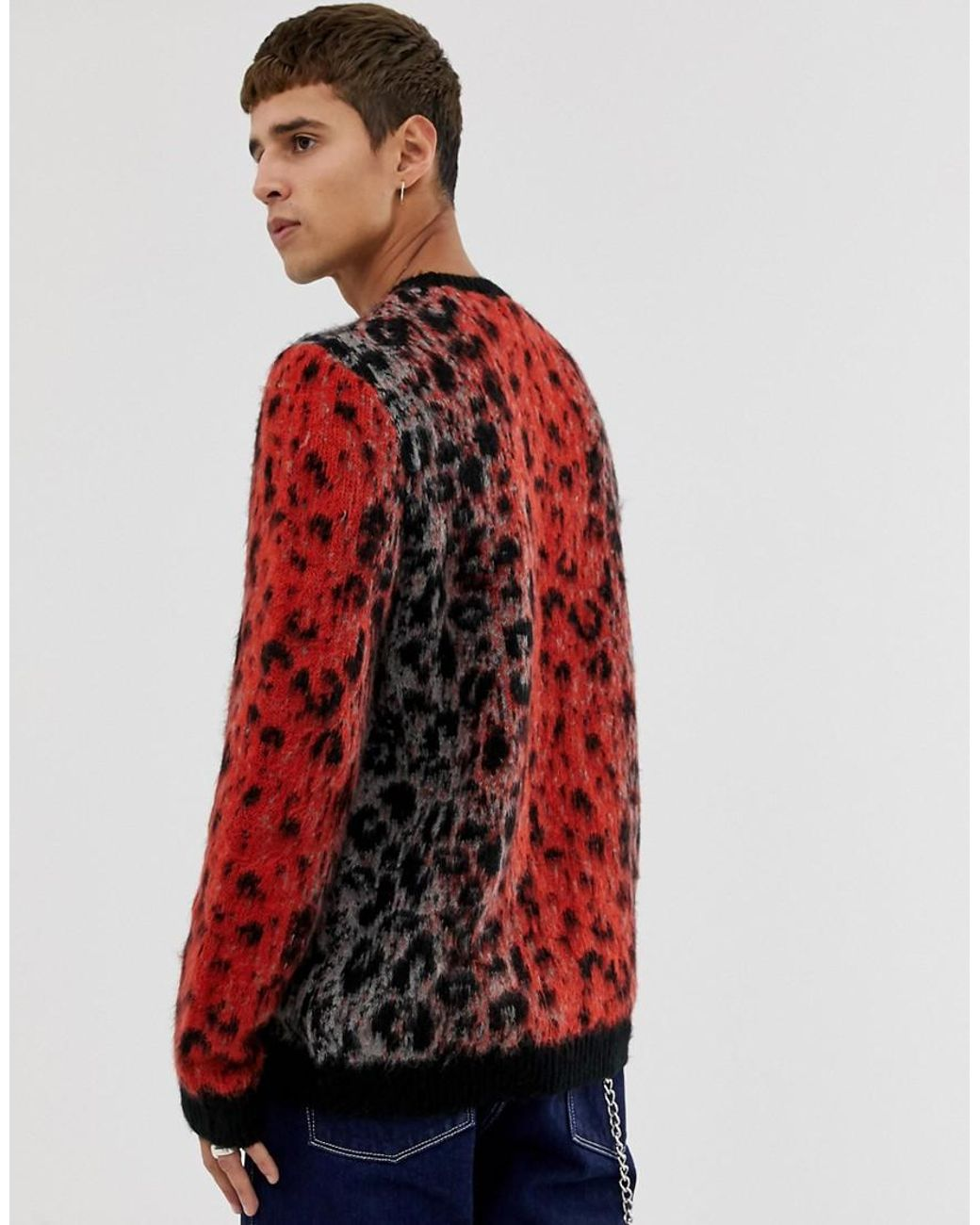 1fa21bd3be48 ASOS Oversized Textured Knit Jumper With Leopard Design in Brown for Men -  Lyst