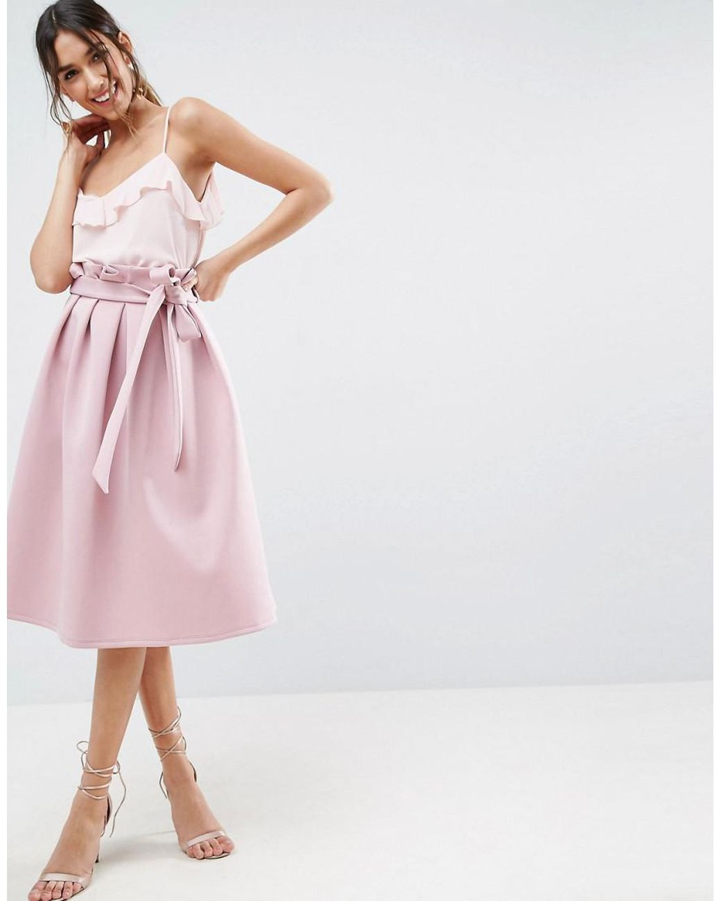 fe71dcfdabbf98 ASOS Asos Scuba Prom Skirt With Paperbag Waist in Pink - Lyst