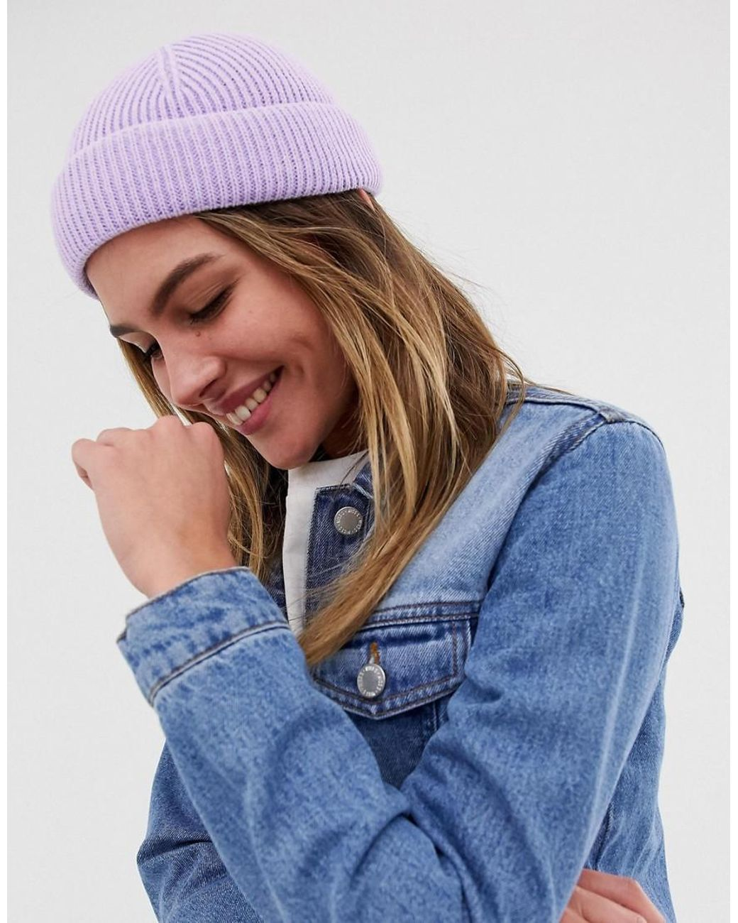cec9310bd0a Long-Touch to Zoom. Long-Touch to Zoom. 1  2. ASOS - Purple Mini Fisherman  Beanie - Lyst ...