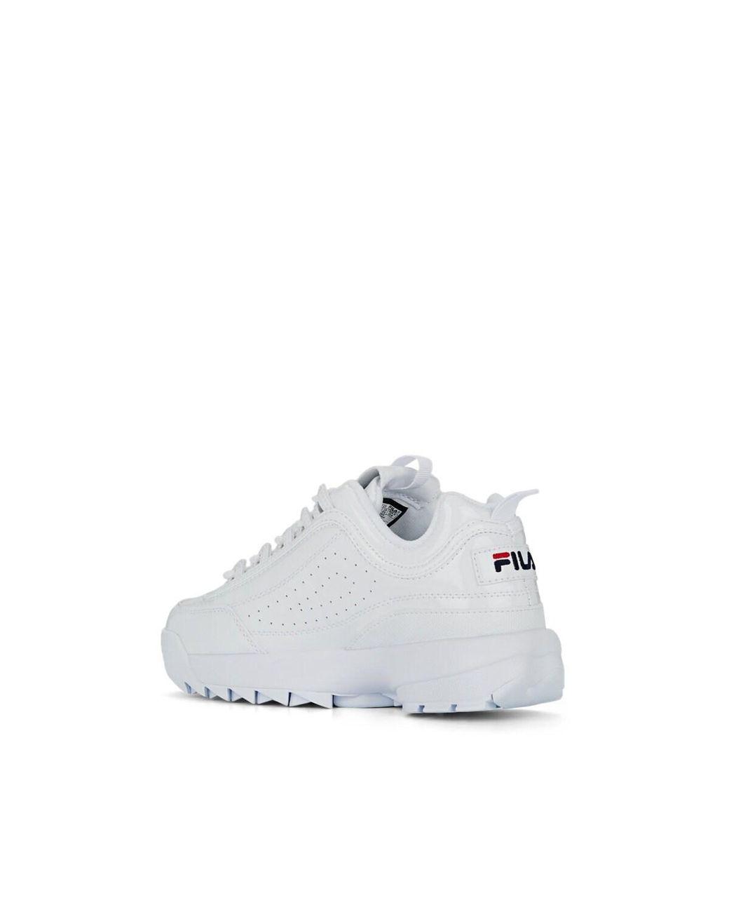 Women's White Disruptor Ii Spazzolato Leather Sneakers