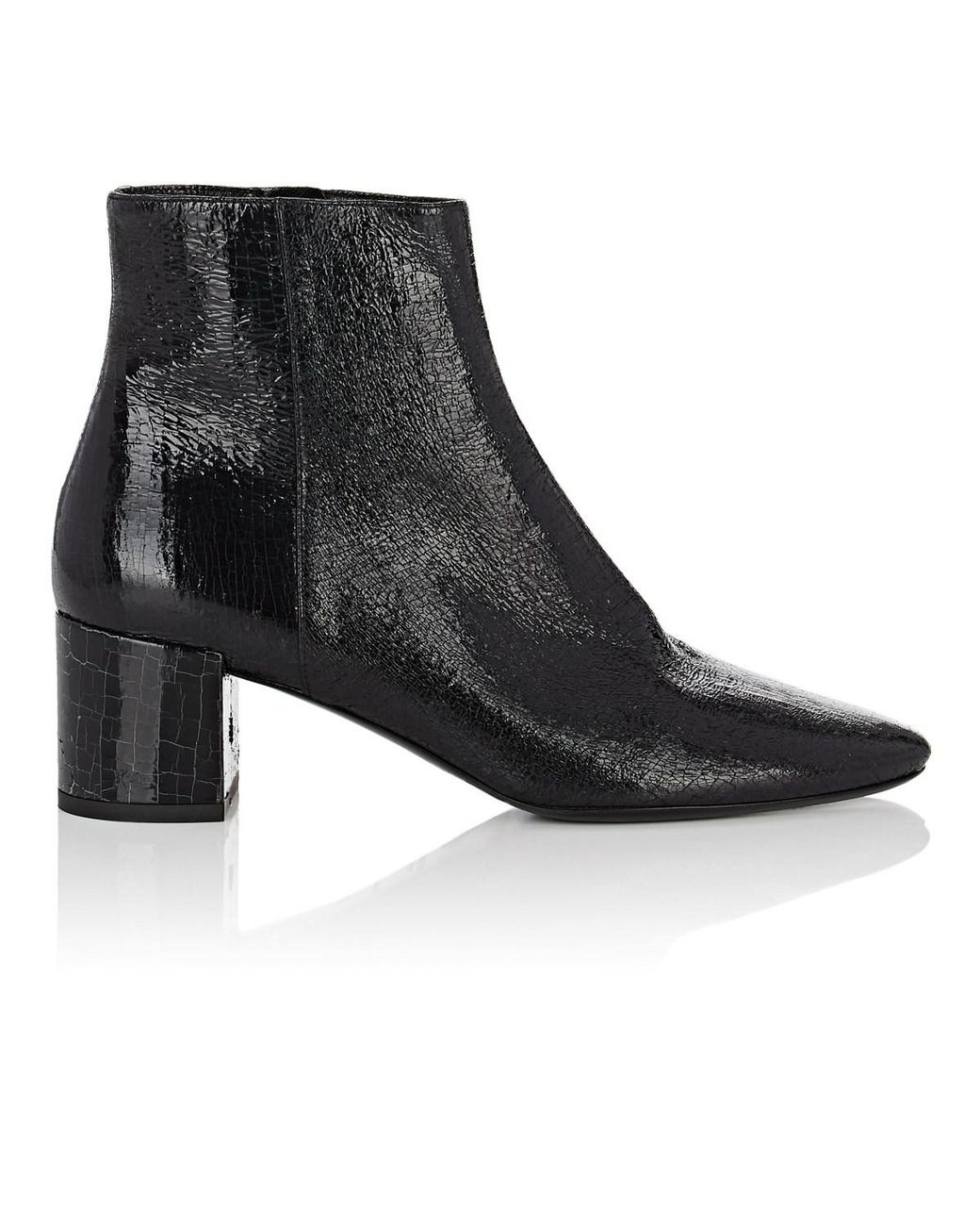 0828e758fee1 Lyst - Saint Laurent Loulou Cracked Leather Ankle Boots in Black