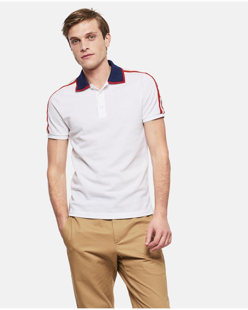 ff3b5fa8a Gucci Cotton Polo With Stripe in White for Men - Lyst