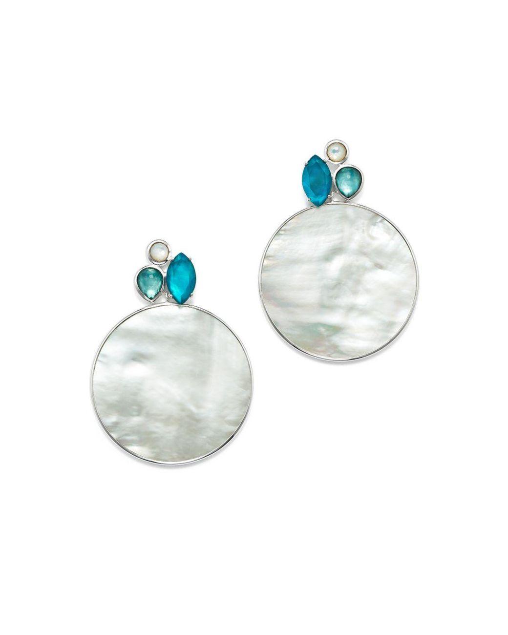 f952b7cbf Ippolita Sterling Silver Wonderland Mother - Of - Pearl & Clear Quartz  Doublet Cluster & Round Drop Earrings In Bermuda in Metallic - Lyst