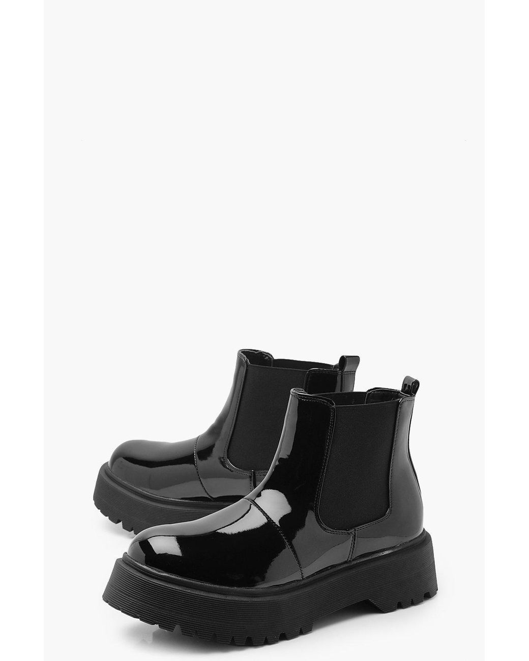 adc946c74883 Lyst - Boohoo Patent Chunky Cleated Chelsea Boots in Black