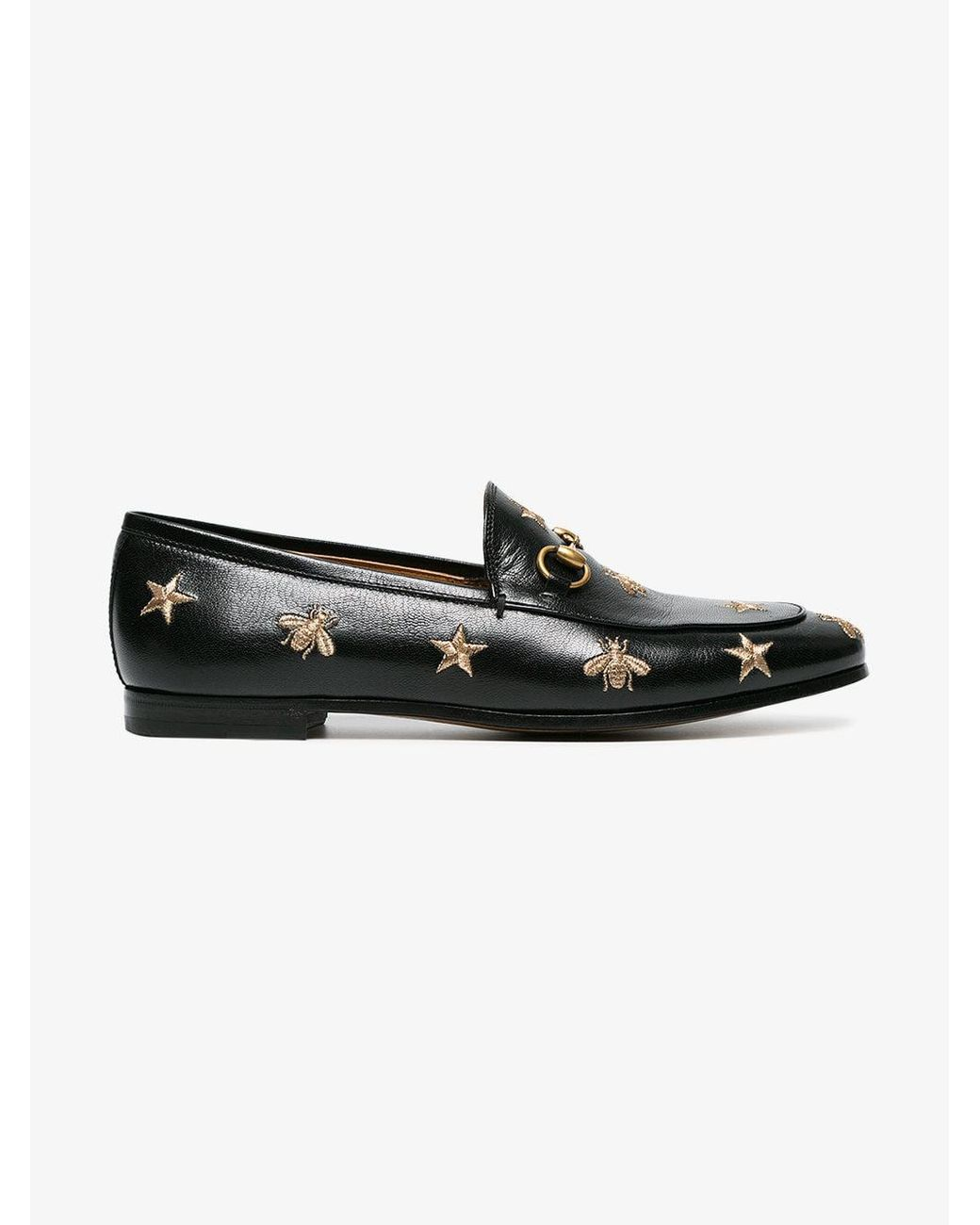 80eb9237388 Lyst - Gucci Jordaan Embroidered Leather Loafer in Black