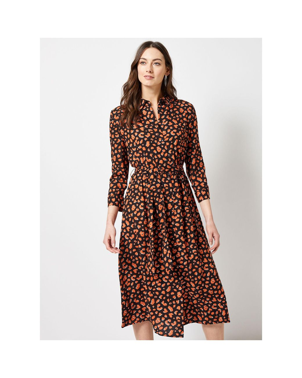 cc3af6f6d1fbb8 Dorothy Perkins Multicoloured Amber Animal Print Shirt Dress in Brown - Lyst