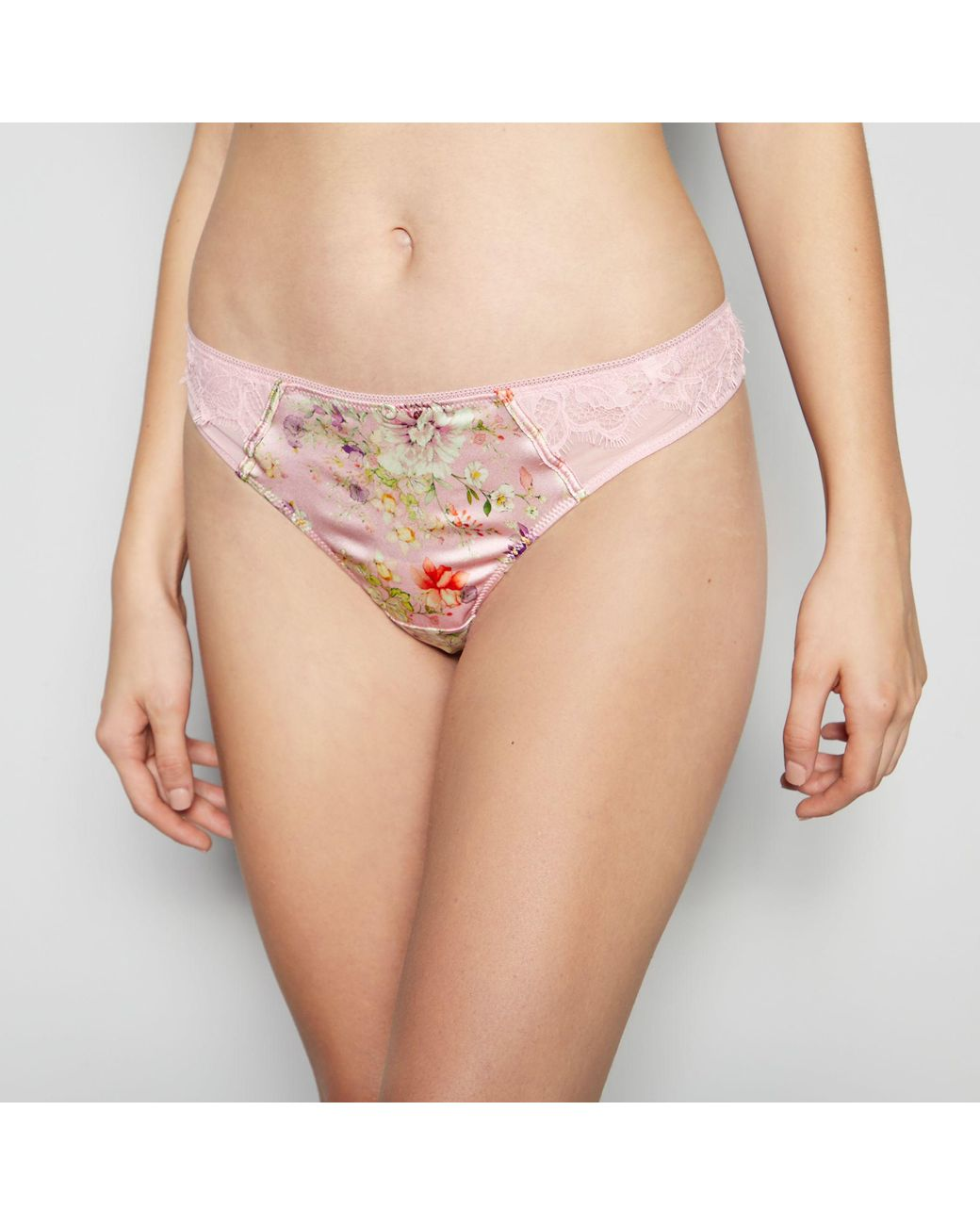 3a072839cb8 Jenny Packham Light Pink Floral Print Thong With Silk in Pink - Lyst