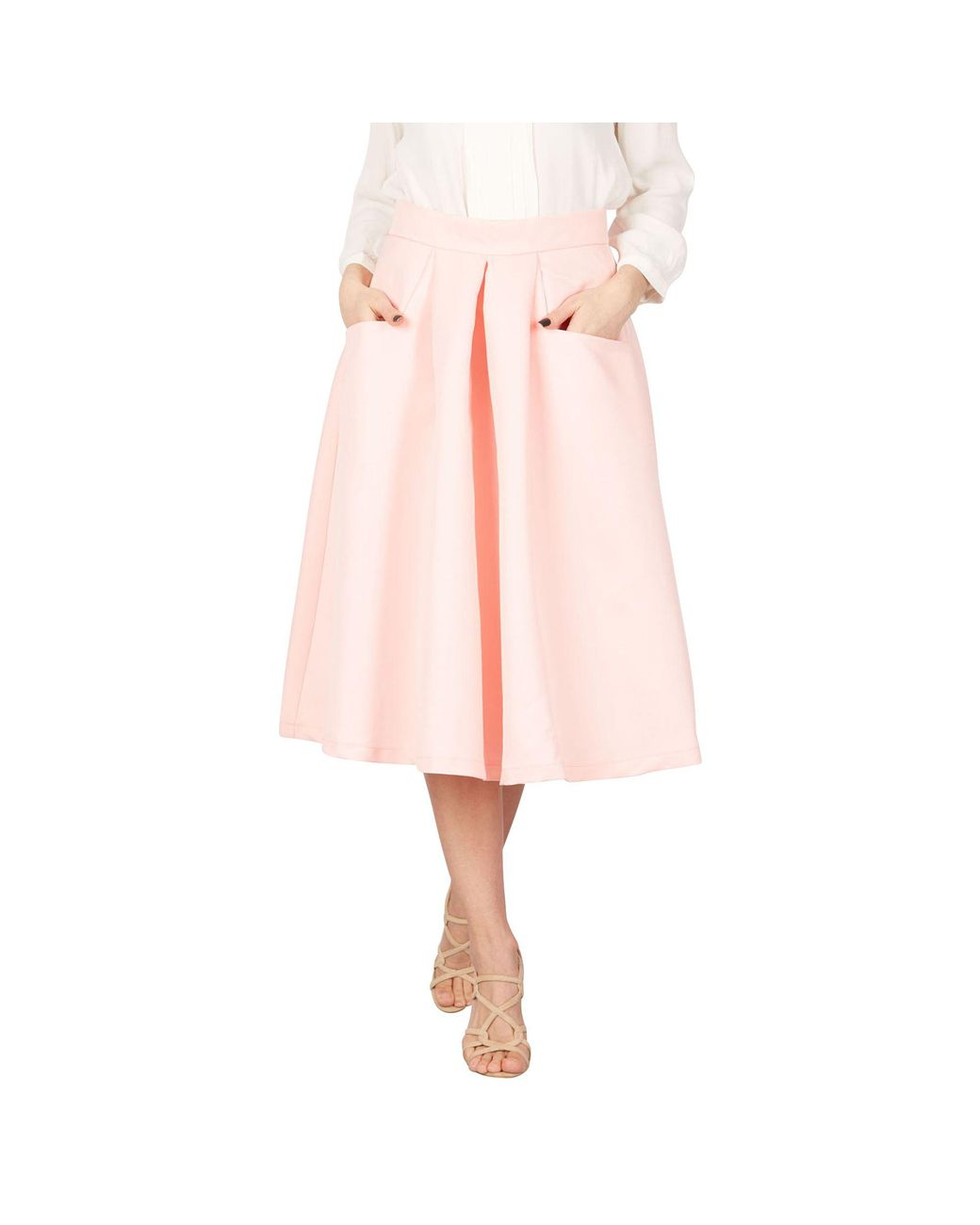 ffca81e579 Jolie Moi Pink Pleated A Line Midi Skirt in Pink - Lyst