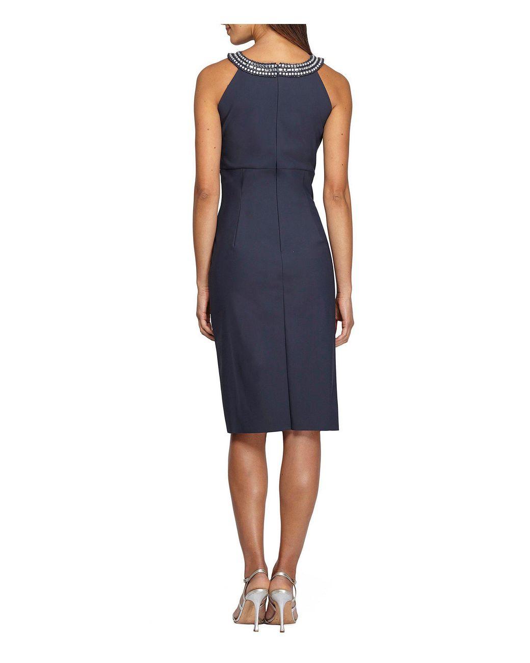 150ec7dd62 Alex Evenings Embellished Halter Sheath Dress in Blue - Lyst