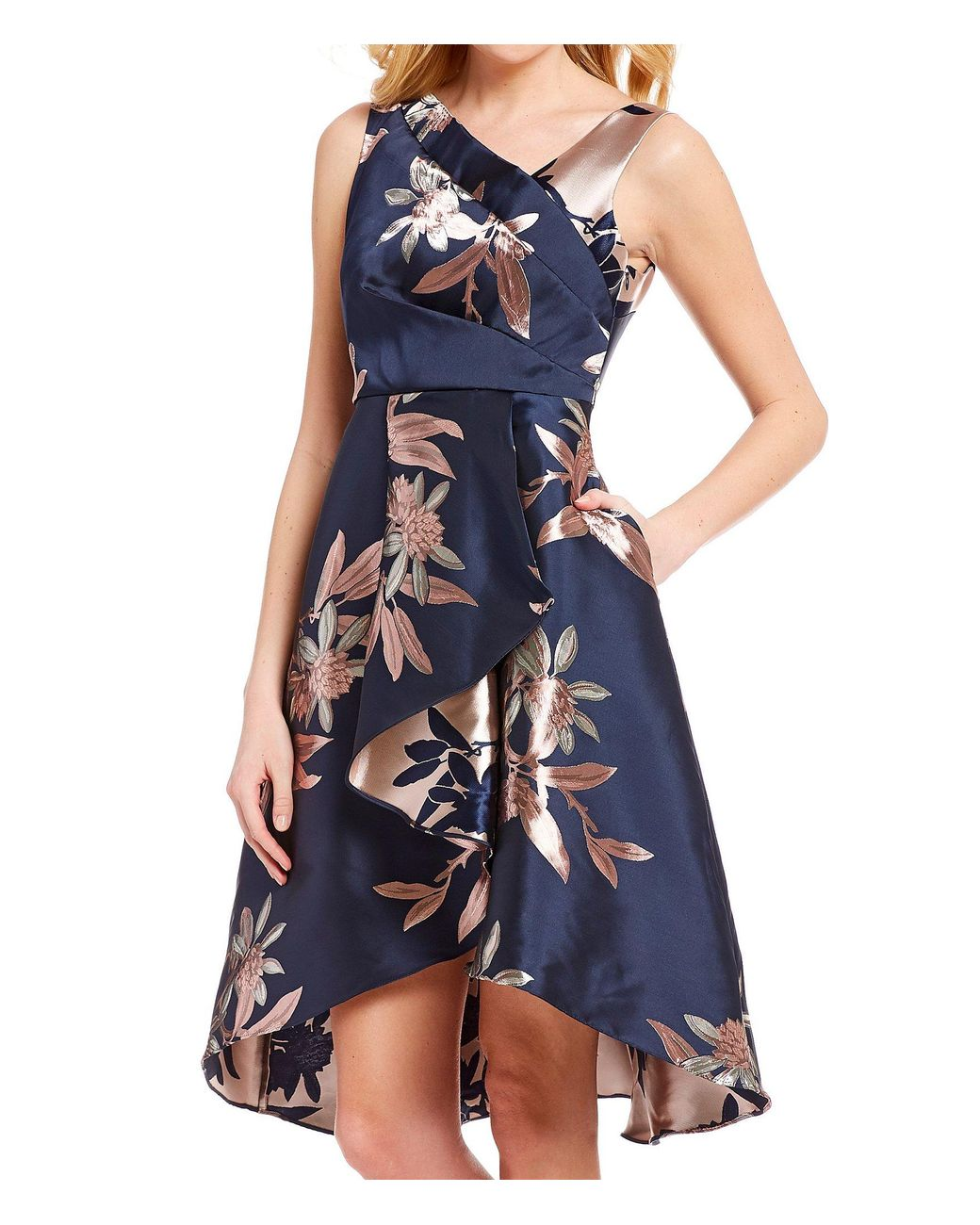 9709434e479aa Adrianna Papell Petite Size Floral Print Jacquard Sleeveless Cascade Hi-low  Dress in Blue - Save 6% - Lyst
