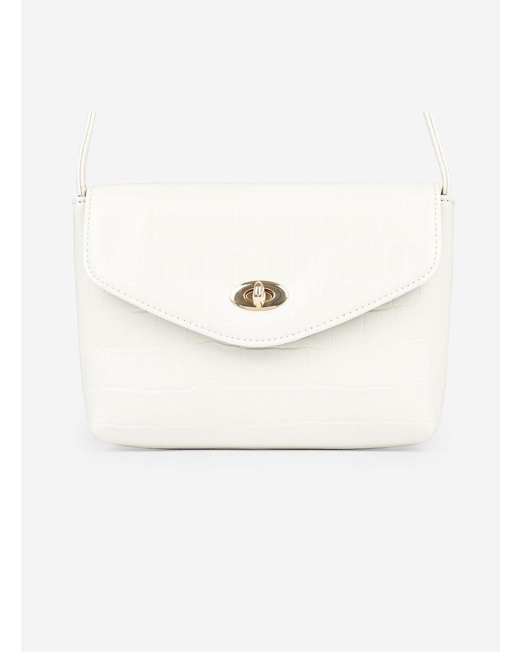 7df41763c44 Dorothy Perkins Cream Crocodile Design Twistlock Cross Body Bag in ...
