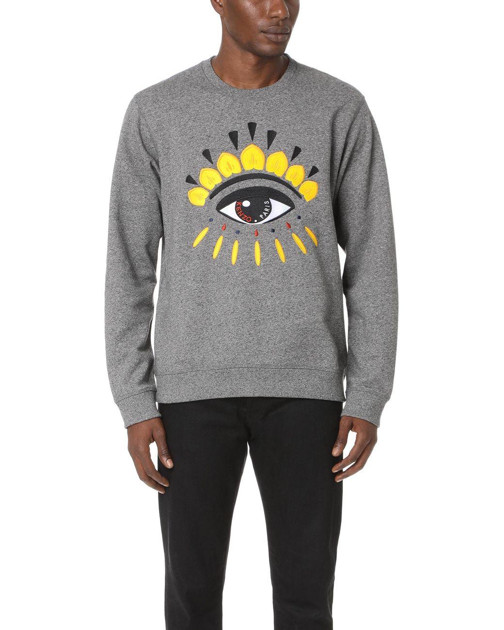 07d6529df KENZO Eye Crew Sweatshirt in Gray for Men - Save 12% - Lyst