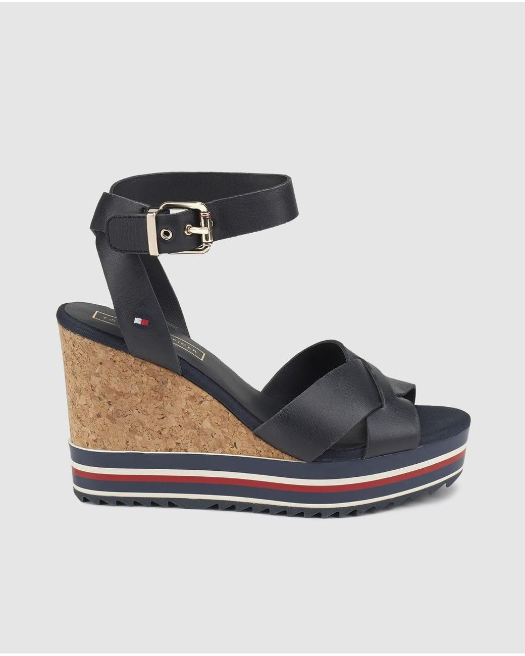 b7131d5c9 Lyst - Tommy Hilfiger Navy Blue Wedge Espadrilles With Stripe Detail ...