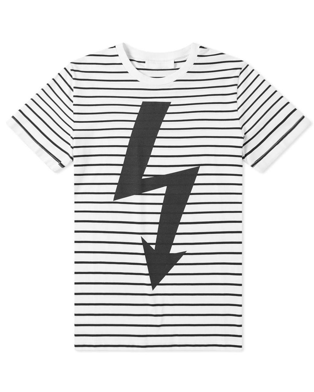 ddee1a6d69 Neil Barrett Lightning Bolt Stripe Tee in White for Men - Lyst