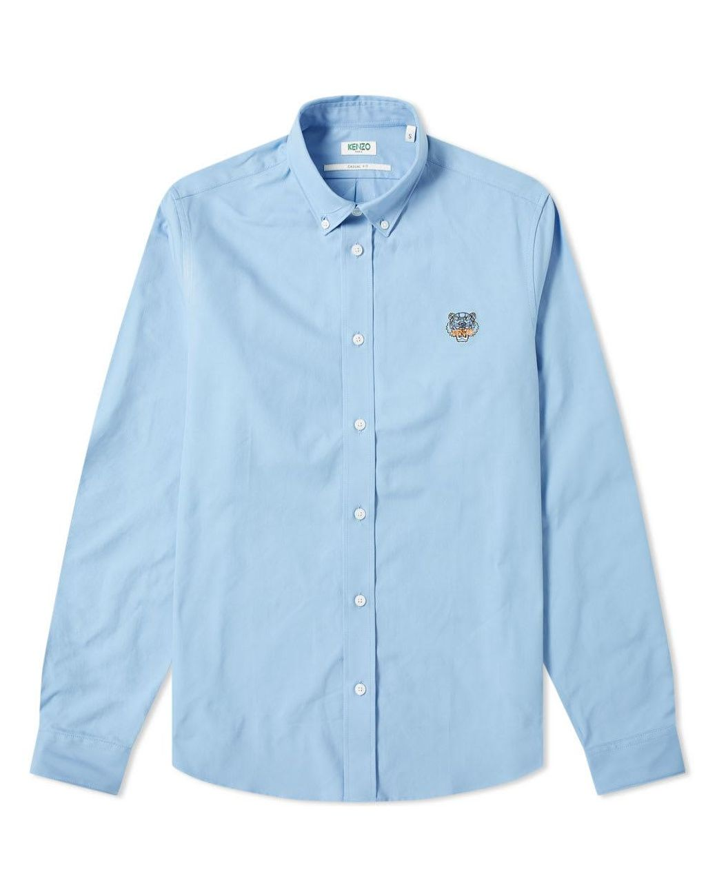 5257648a KENZO Tiger Logo Twill Button Down Shirt in Blue for Men - Lyst