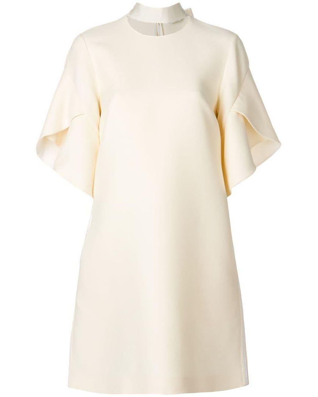 e337ae56642d Fendi Collar-detail Flared Dress in Natural - Save 30% - Lyst