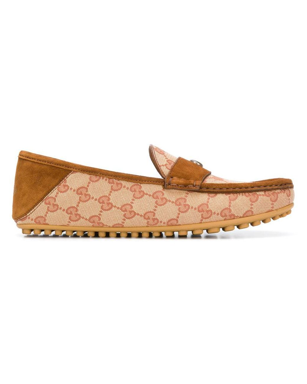 48c90f4e7 Gucci Logo Driving Loafers in Brown for Men - Lyst
