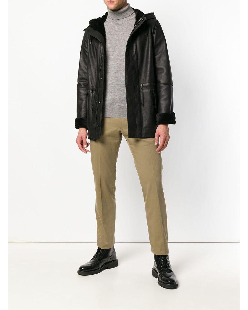 Yves Black Jacket Lyst Salomon For Reversible In Hooded Shearling Men yYfg7b6v