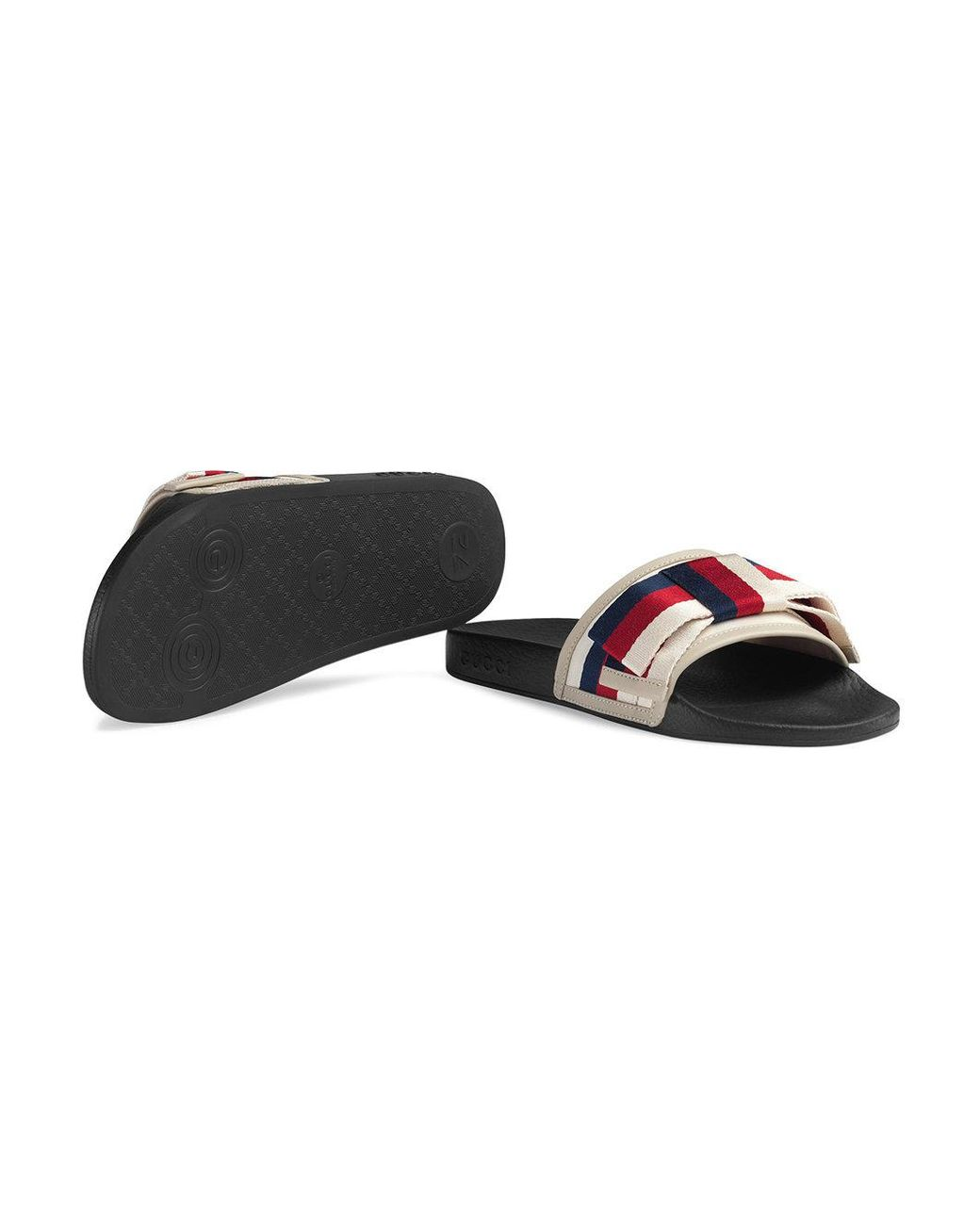 b28a41792 Gucci Satin Slides With Sylvie Bow in White - Save 41% - Lyst
