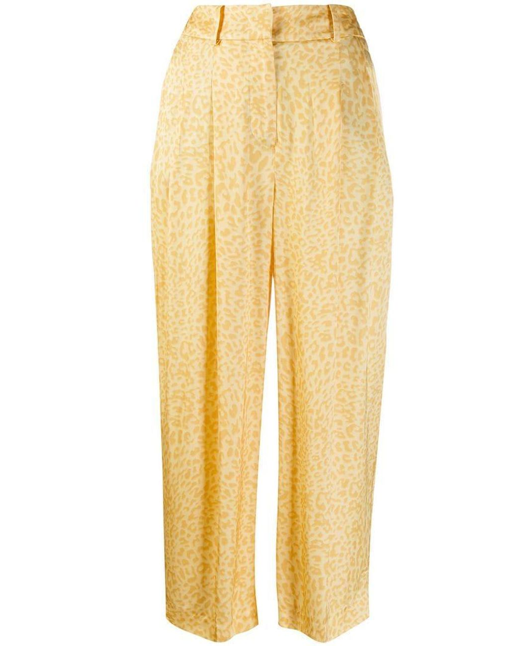 6e25dc353e56 Lyst - PT01 Leopard-print Trousers in Yellow