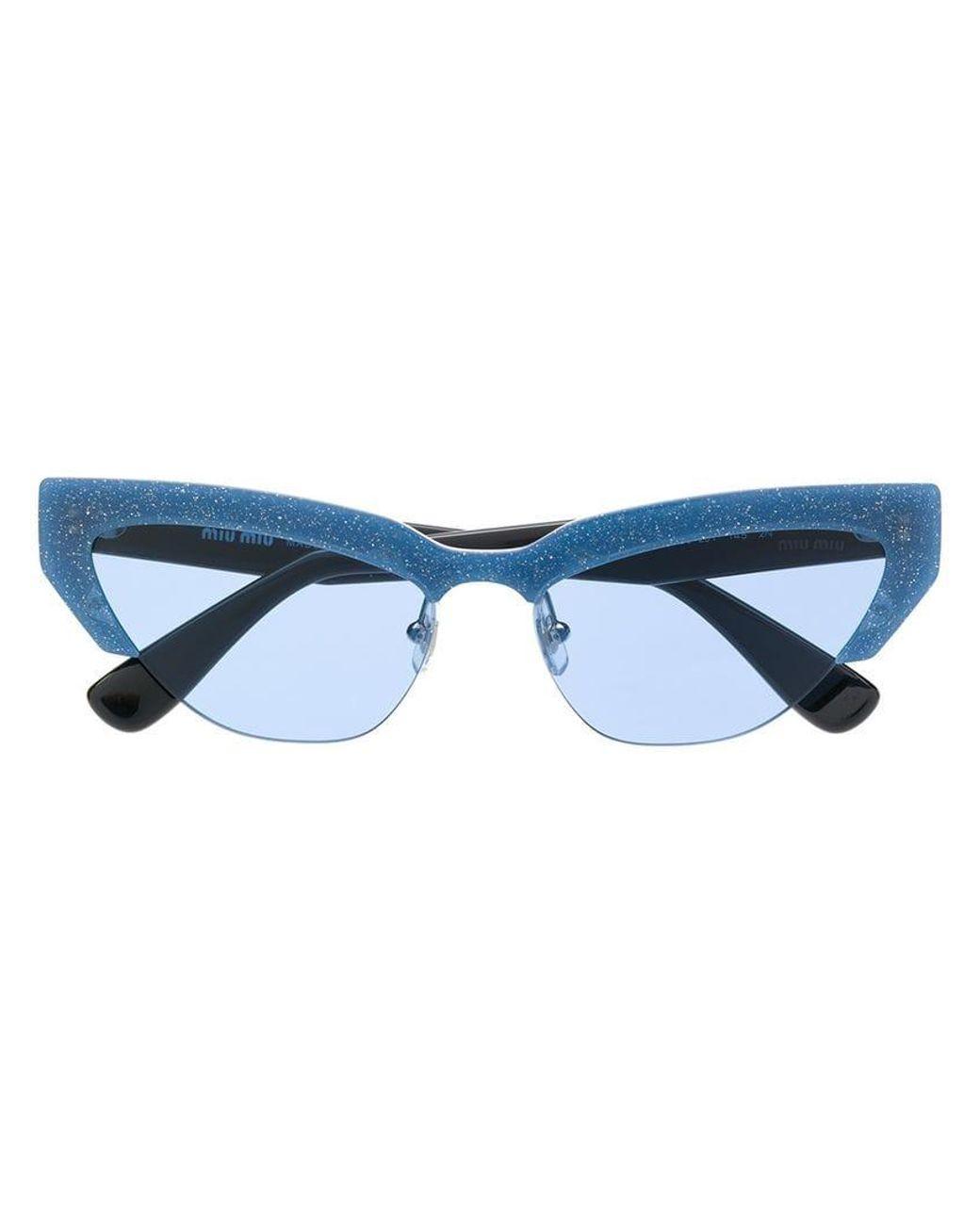 16cc21b1e892 Miu Miu Cat Eye Sunglasses in Blue - Save 6% - Lyst