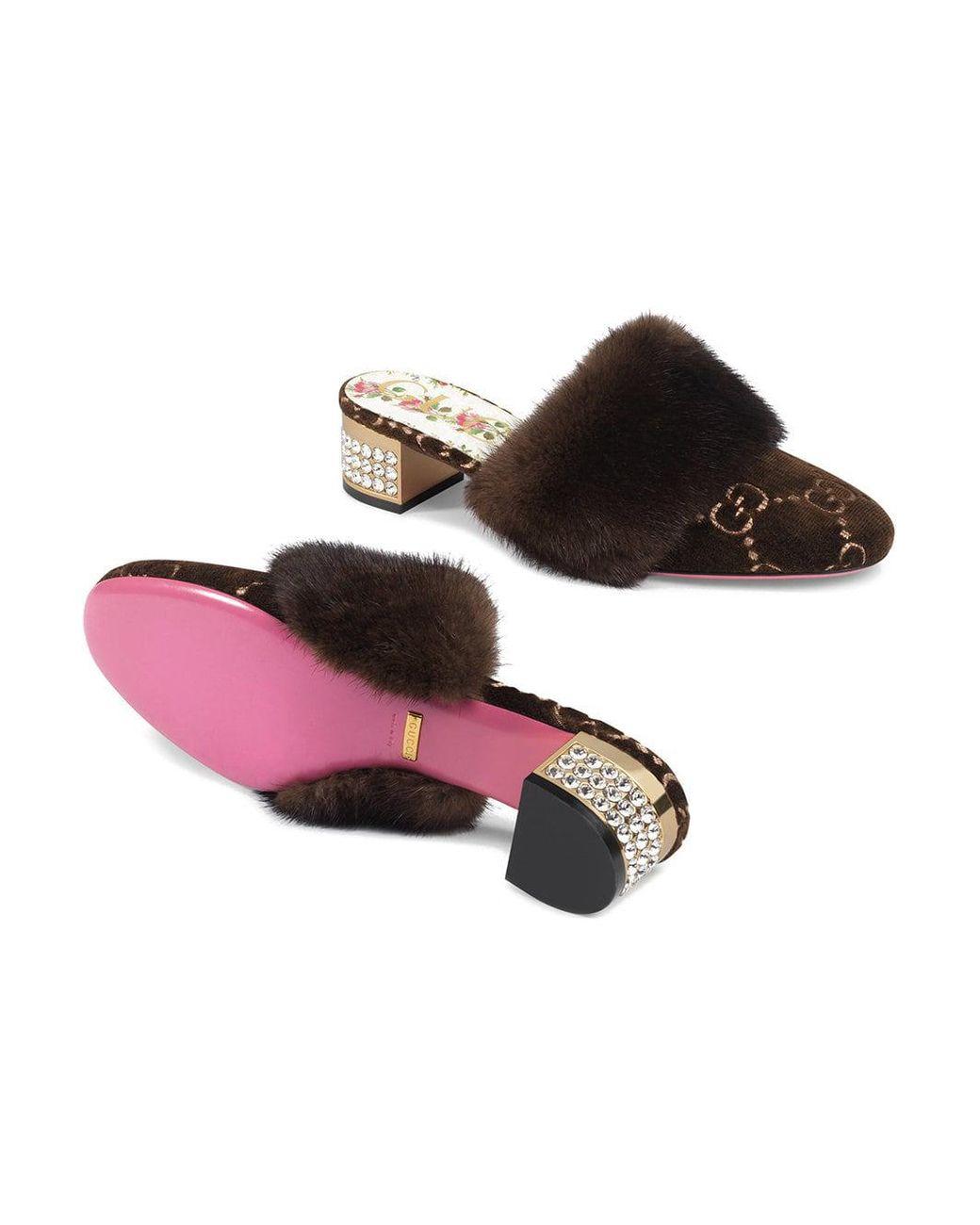 0426e416d8d5 Lyst - Gucci GG Velvet Slide With Mink Fur in Brown - Save 40%