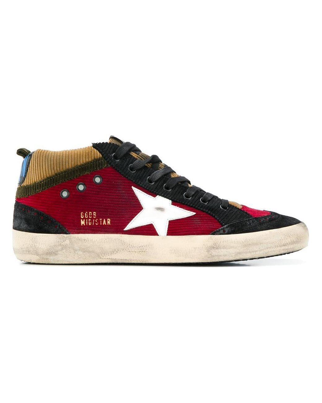 4b7188138a153 ... golden goose deluxe brand men s red mid star corduroy trainers ...