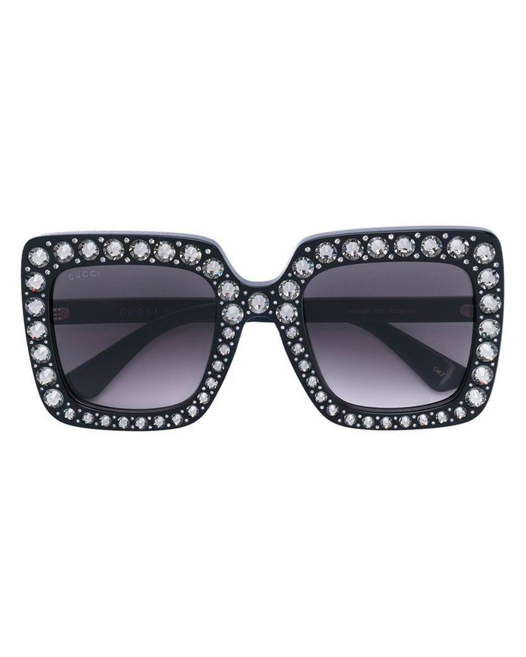 6a38da30861 Lyst - Gucci Oversize Square-frame Sunglasses With Crystals in Black