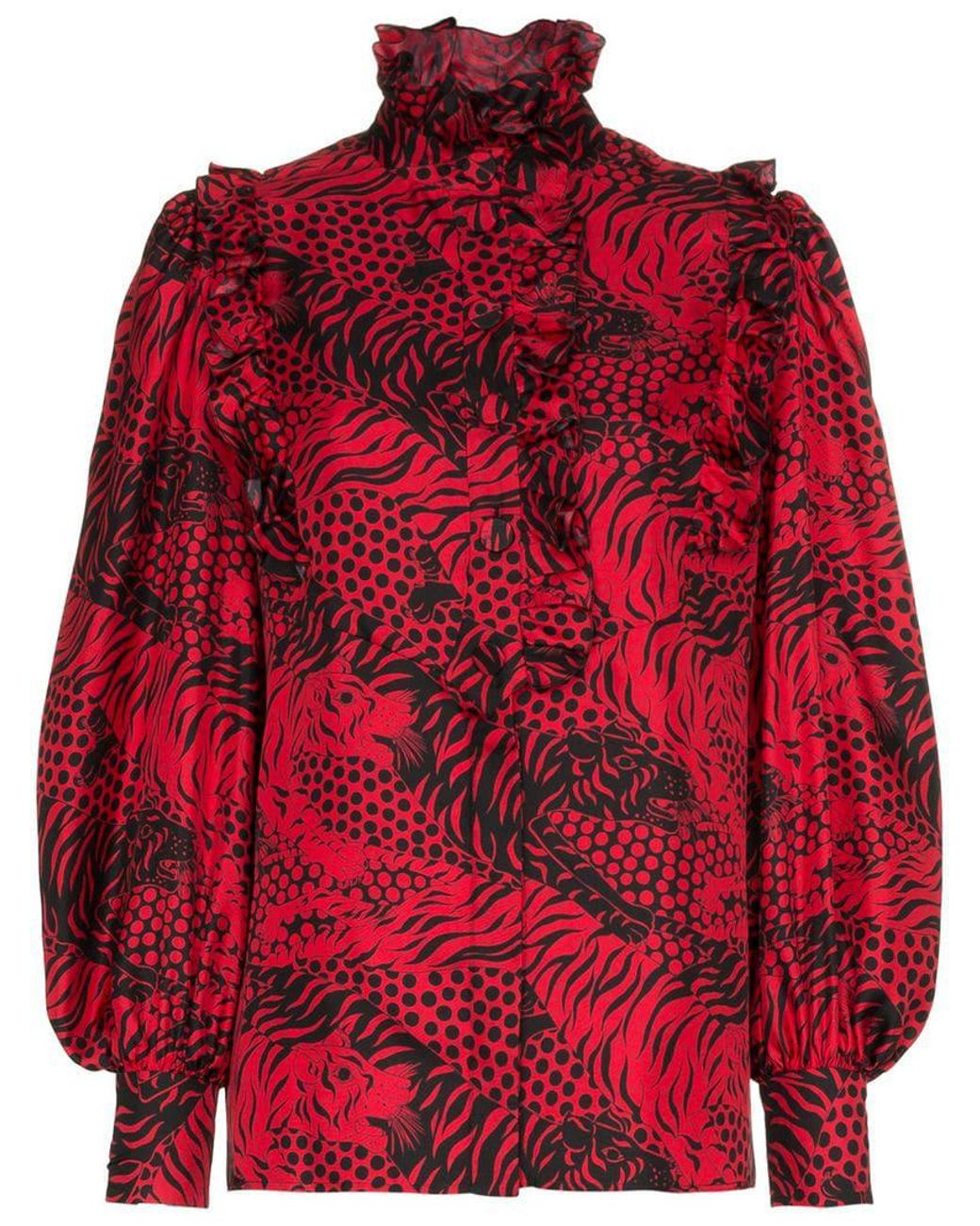 fd6399e0cd7 Lyst - Gucci Ruffled Printed Silk-twill Shirt in Red