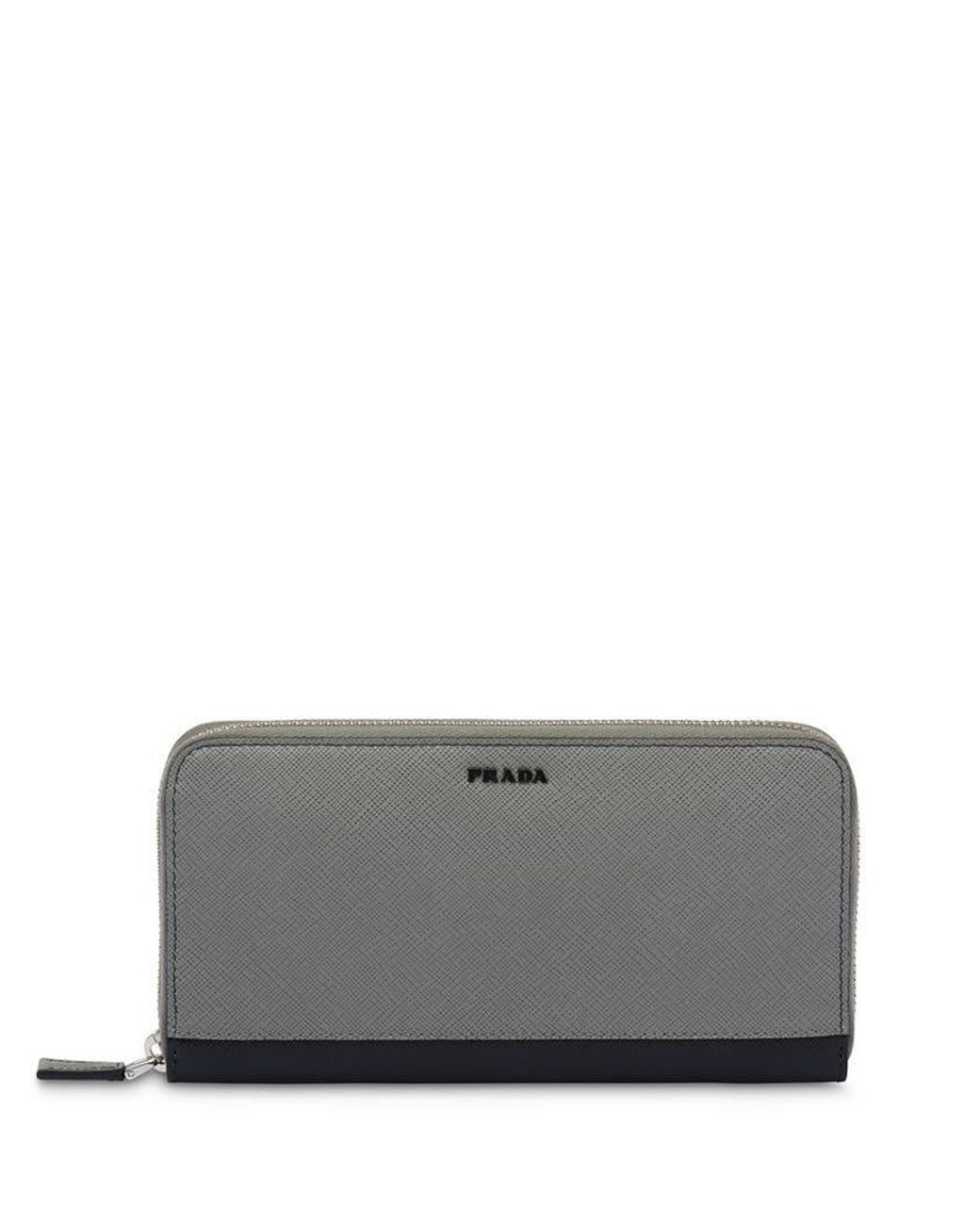 a3ec743a1e34 Prada Logo Plaque Continental Wallet in Gray for Men - Lyst
