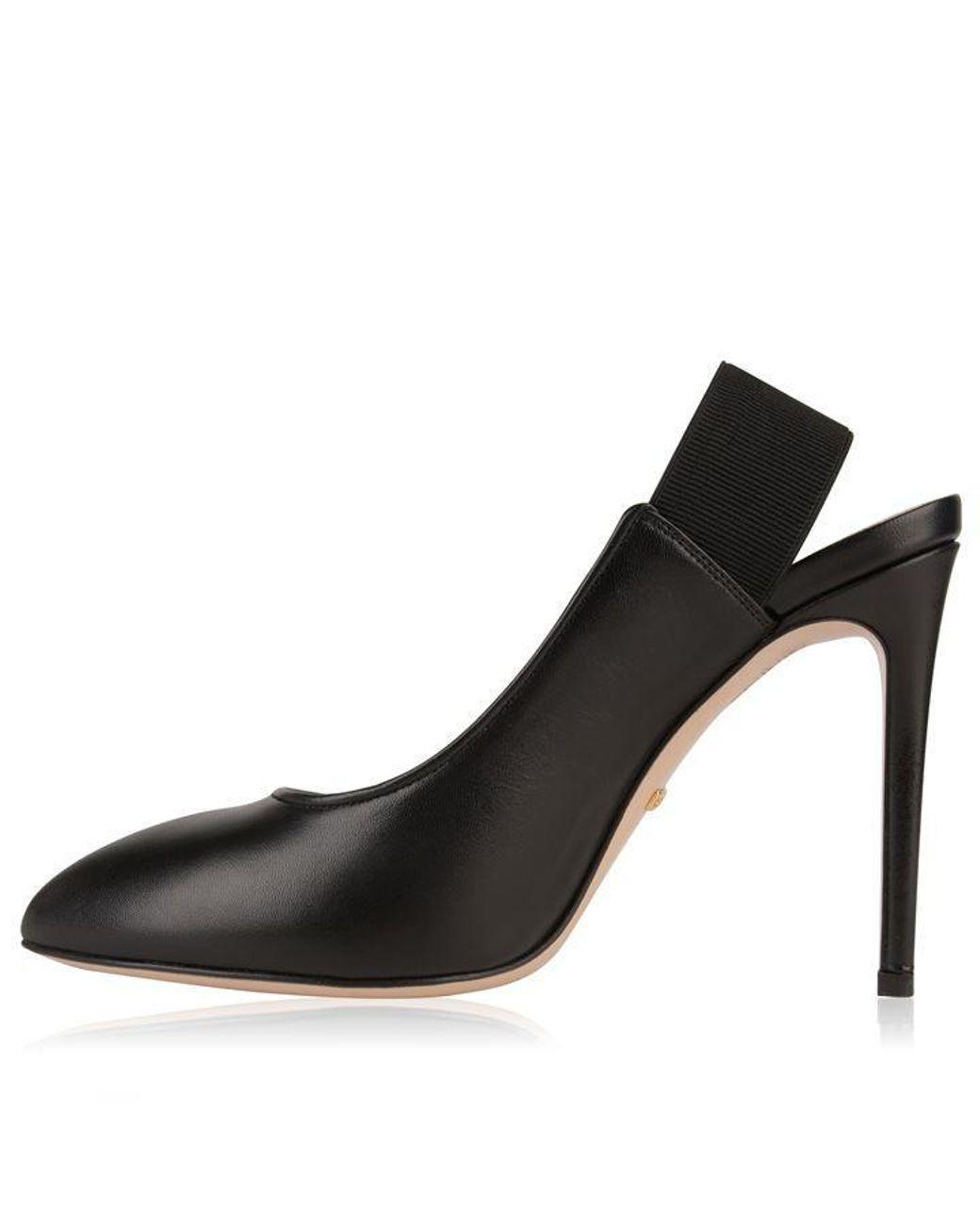 44b48c378 Gucci Sylvie Bee Heels in Black - Lyst