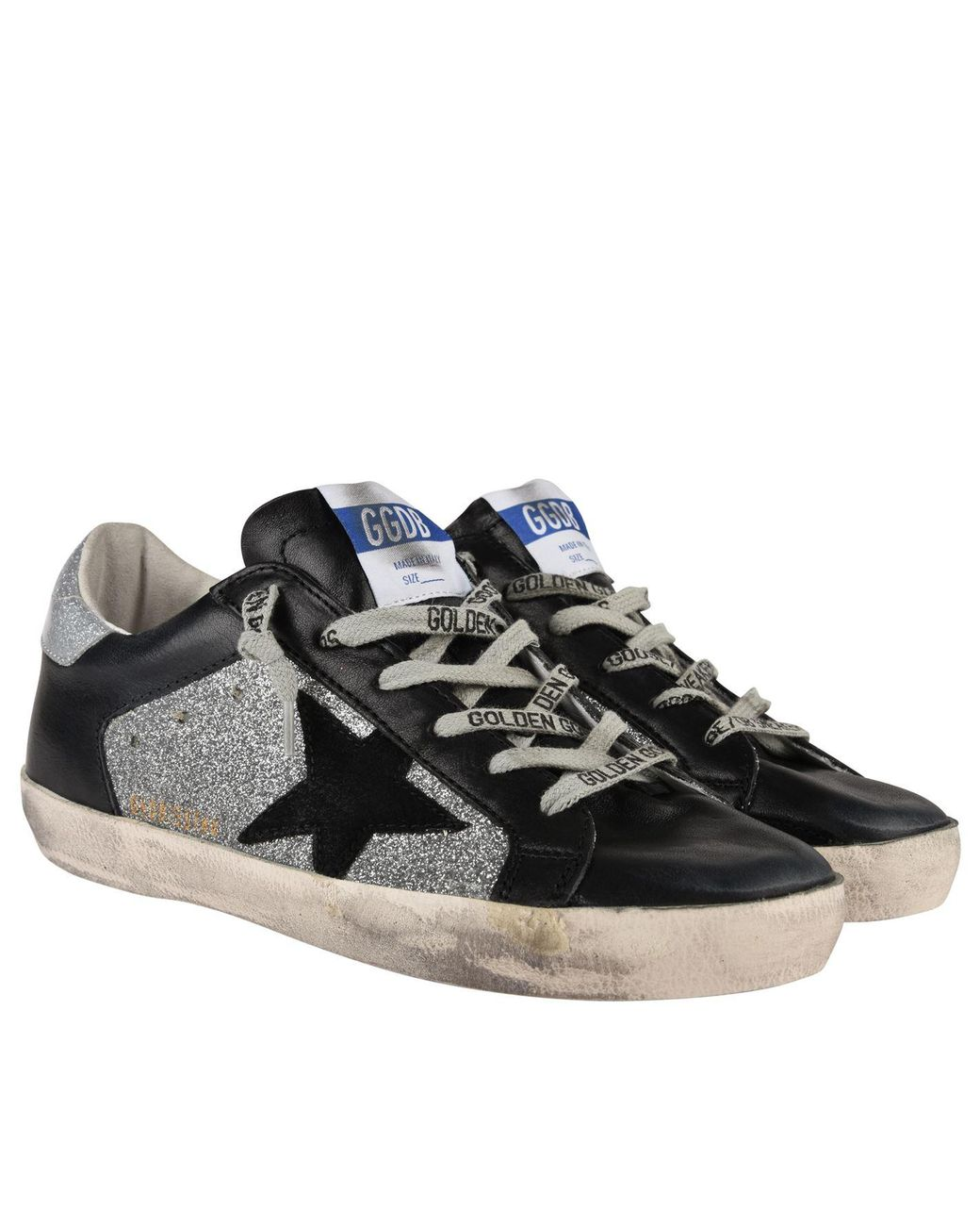 new product c84b5 dabb7 golden goose deluxe brand women s black superstar shine low top trainers