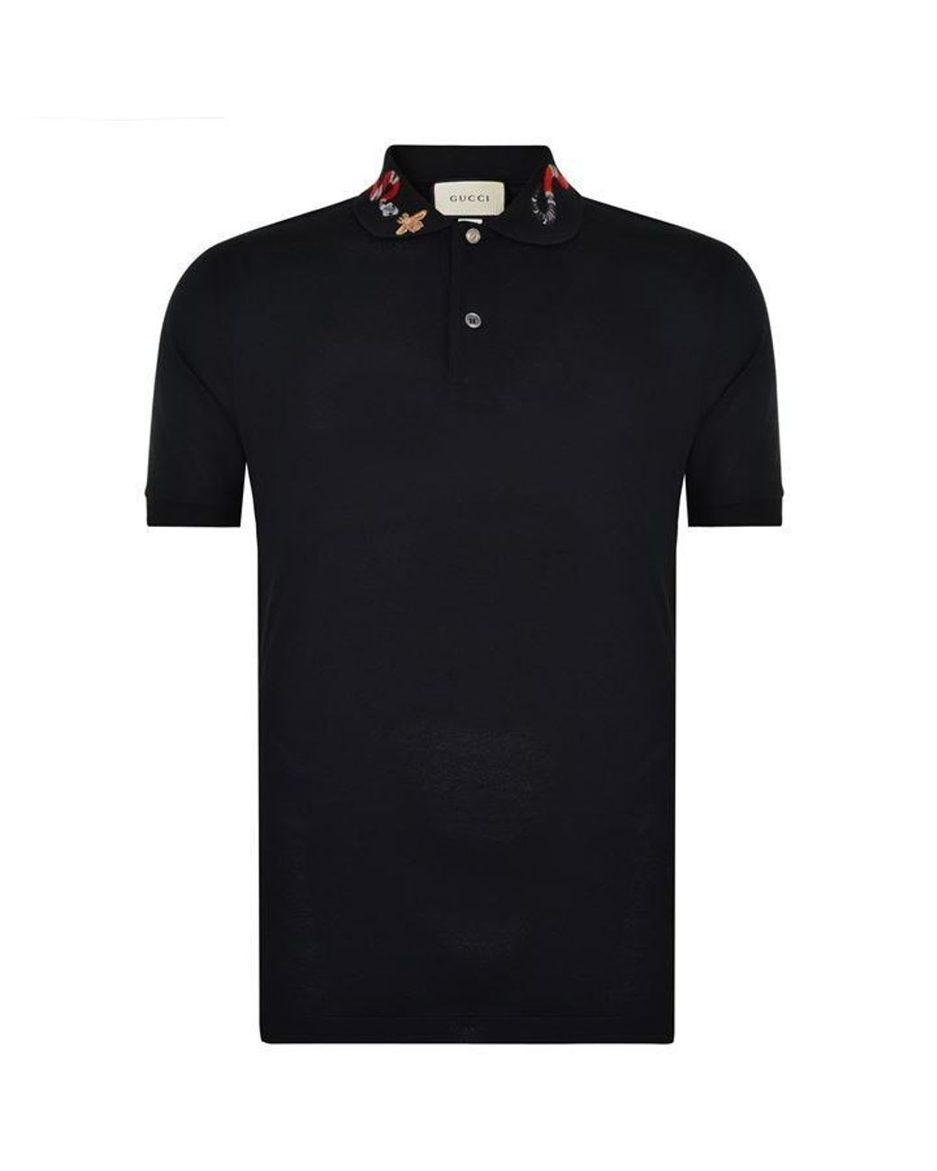 0f25461cb Gucci Snake Embroidered Polo Shirt in Black for Men - Lyst